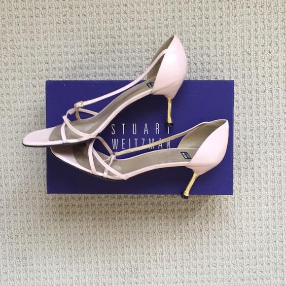 bb9fab19d303 Pink Stuart Weitzman Strappy Heels w Gold Accents